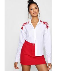 Boohoo - Floral Embroidered Collar Shirt - Lyst