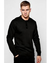 Boohoo | Long Sleeve Knitted Polo | Lyst