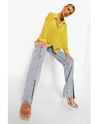 Boohoo Womens Langärmeliges Shirt Aus Dobby-Netzstoff - Gelb