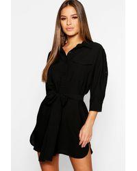 Boohoo Vestido Estilo Camisa Funcional Petite - Negro