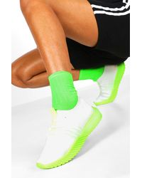 Boohoo Neon Sole Knitted Sports Trainers - Green