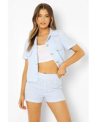 Boohoo Pantalones Cortos Entallados A Cuadros De Pata De Gallo - Azul