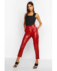 Boohoo Faux Leather Belted Tapered Trousers