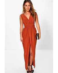 Boohoo Petite Plunge Drape Maxi Dress - Orange