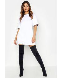 Boohoo Vestido Estilo Camiseta Con Adorno En Contraste Y Estampado De Leopardo - Blanco