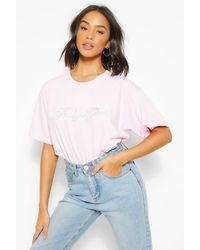 Boohoo T-Shirt À Slogan Baby Girl Et Strass - Rose