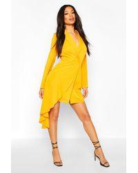 Boohoo Waterfall Drape Blazer Bodycon Dress - Orange