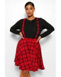 Boohoo Plus Check Pinafore Skirt - Red