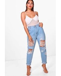 Boohoo Plus Annie All Over Ripped 7/8th Jeans - Blue