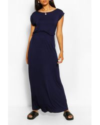 Boohoo Maternity Cap Sleeve Shirred Waist Maxi Dress - Blue