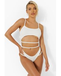 Boohoo Cut Out Strappy Textured Rib Swimsuit - Blanco