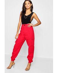 Boohoo Pantalon Cargo Taille Haute Tissé À Poche - Rouge