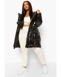 Boohoo Plus Faux Fur Hood Shiny Parka Puffer Jacket - Black