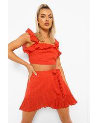 Boohoo Broderie Ruffle Detail Top & Skirt - Red