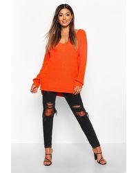 Boohoo Womens Oversized V Neck Sweater - Orange