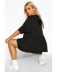 Boohoo Womens Plus Schößchen-Sweatshirt mit Kapuze - Schwarz