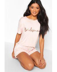 Boohoo Womens Bridesmaid T-shirt & Short Pj Set - Pink