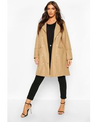 Boohoo Womens Military Button Double Breasted Wool Look Coat - Natur