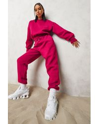 Boohoo Official Cropped Jumper Tracksuit - Pink