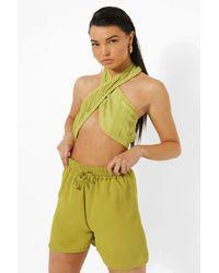 Boohoo - Linen Drawstring Flippy Shorts - Lyst