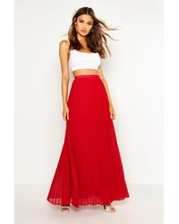 Boohoo Womens Chiffon Pleated Maxi Skirt - Black