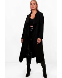 Boohoo - Plus Violet Wrap Wool Look Coat - Lyst