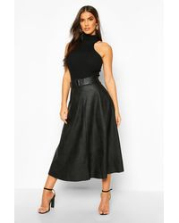 Boohoo Leather Look Self Belt Skater Skirt - Black