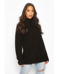 Boohoo Jersey Oversize De Cuello Vuelto - Negro