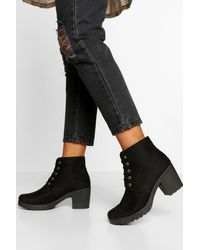Boohoo Block Heel Chunky Hiker Boot - Black