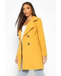 Boohoo Double Breasted Collared Wool Look Coat - Yellow