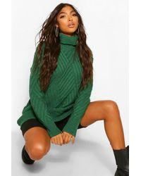 Boohoo Tall Roll Neck Chunky Cross Knit Jumper - Green