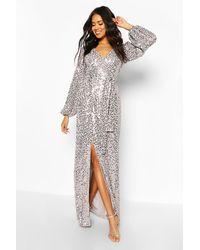 Boohoo Bridesmaid Occasion Sequin Plunge Maxi Dress - Gray