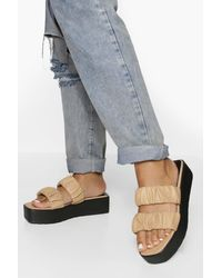 Boohoo Wide Fit Ruched Double Strap Flatform - Natural