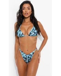 Boohoo Blur Print V Front Tanga Bikini Brief - Brown