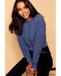 Boohoo Womens Crop Fisherman Sweater - Blue