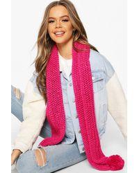 Boohoo Womens Chunk Knit & Pom Pom Scarf - Pink