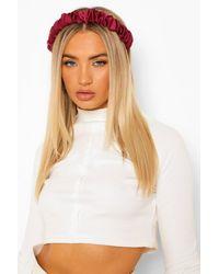 Boohoo Satin Ruched Headband - Red