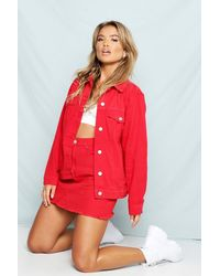 Boohoo Red Oversized Jean Jacket