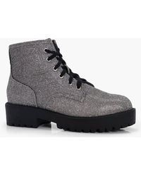 Boohoo - Katie Shimmer Low Ankle Chunky Hiker Boot - Lyst