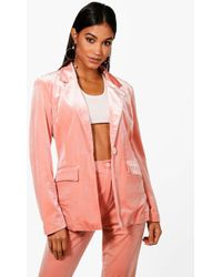 Boohoo - Premium Velvet Suit Blazer - Lyst