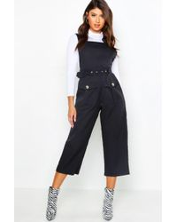 Boohoo - Belted Utility Cargo Pocket Pinafore Jumpsuit - Lyst