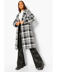Boohoo Oversized Check Belted Wool Look Robe Coat - Nero