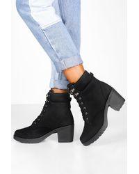 Boohoo Padded Cuff Block Heel Combat Boots - Black