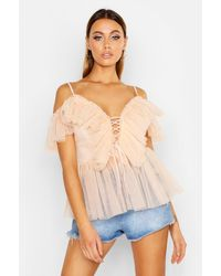Boohoo Mesh Organza Ruffle Layered Lace Up Peplum - Natural