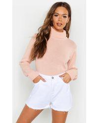 Boohoo Turtleneck Crop Sweater - Pink