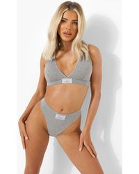 Boohoo Second Skin Official Woven Tab Thong - Grey