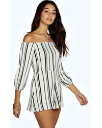 Boohoo - Stripe Off The Shoulder Playsuit - Lyst