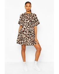 Boohoo Vestido Tipo Blusón Con Estampado De Leopardo - Marrón