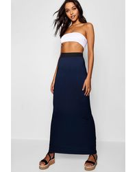 Boohoo Tall Jersey Basic Contrast Waistband Maxi Skirt - Black