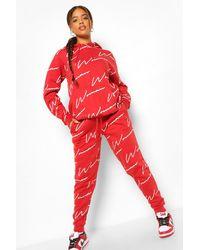 Boohoo Chándal Con Estampado Completo Woman Fit - Rojo